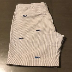 J. Crew seersucker shorts with whale pattern